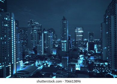 dramatic night cityscape on blue filter - can use to display or montage on product