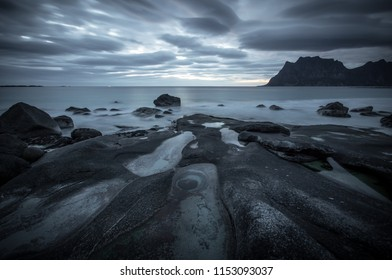 Dramatic night at a Norwegian beach