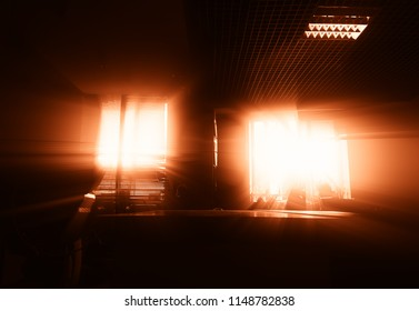Dramatic office interior during sunset background