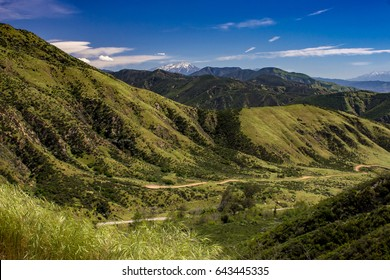 Dramatic overlook of the San Bernardino Mountains from the Rim of the World Scenic Byway, California