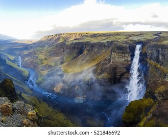 Dramatic overview of Waterfall Haifoss in Iceland, ultra wide panoramic photo