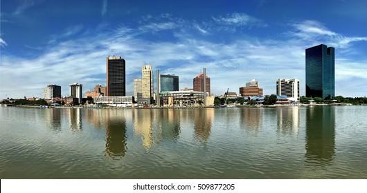 A Dramatic panorama of the Toledo skyline