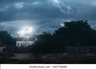 Dramatic picture of Point Pinos lighthouse in Pacific Grove.  Background