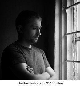 dramatic portrait of alone man