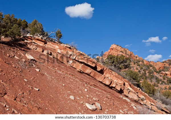 Dramatic red sandstone ridge at Kolob Canyon