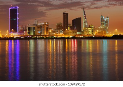 Dramatic reflection of light of Bahrain highrise, HDR photograph