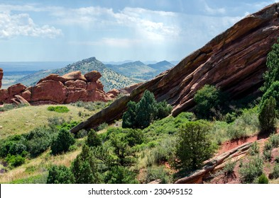 dramatic rock formations at Red Rocks Amphitheatre  in Morrison Colorado