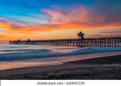 Dramatic San Clemente Pier Sunset Landscape