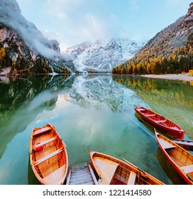 Dramatic scenery of peaceful lake Braies (Pragser Wildsee). Location Dolomiti Alps, national park Fanes-Sennes-Braies, Italy, Europe. Scenic image of most popular travel destination. Beauty of earth.