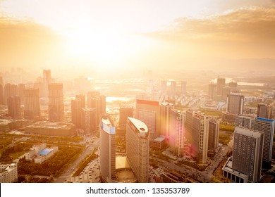 Dramatic scenery sunset of the city center