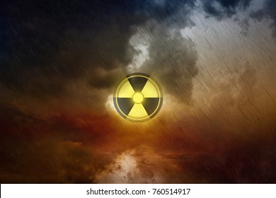 Dramatic scientific background - nuclear fallout, hazardous accident with radioactive isotopes in air, black apocalyptic rain, ecological catastrophe