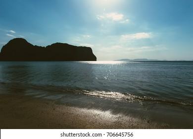dramatic sea ocean blue long beach calm quiet summer holiday place
