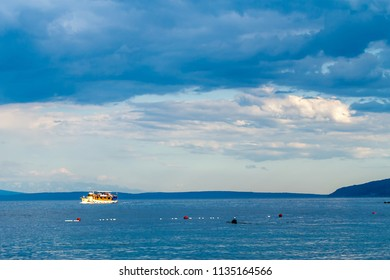 dramatic seascape Adriatic sea and lonely boat