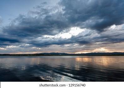 Dramatic skay and lake