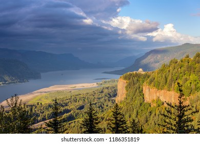 Dramatic skies and clouds in the Columbia River Gorge Oregon.