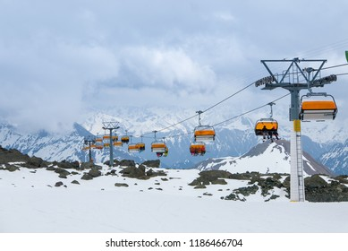 Dramatic skiing scenery in Ischgl and Samnaun ski resort, Spring
