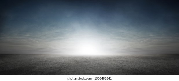 Dramatic Sky with Clouds and Sun Background with Dark Concrete Floor