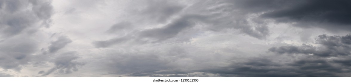 Dramatic sky dackground, stormy clouds in dark sky, panoramic view