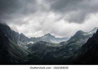 Dramatic sky with dark storm clouds over Tatra mountains in Slovakia