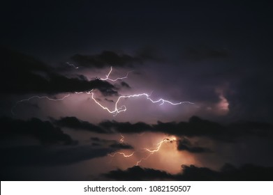 Dramatic sky during thunderstorm in Warsaw, Poland