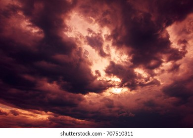 dramatic sky with impressive illumination, before storm