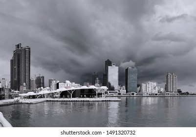 A dramatic sky over the Asia Bay in Kaohsiung City in Taiwan
