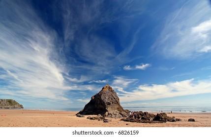 dramatic sky over beach