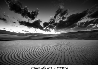 Dramatic Sky over desert dunes Black and White Landscapes Photography