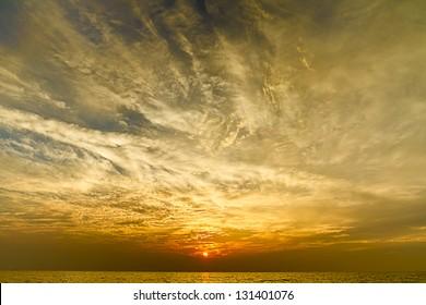 Dramatic sky over a lake