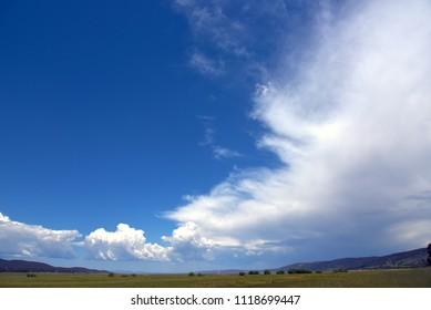 Dramatic sky over lake George near Canberra Australia