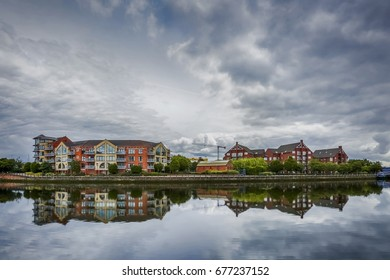 dramatic sky over modern appartaments blocks Greggs Quay and Laganview Court along river Lagan in Belfast, Northern Ireland, UK