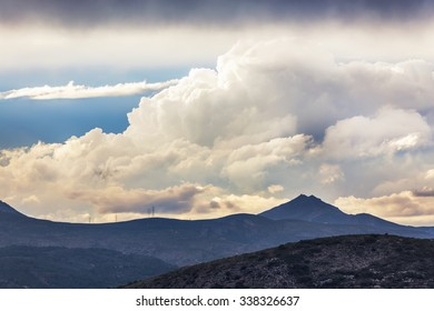 Dramatic sky over mountains in Valencia region, Spain
