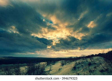 Dramatic sky over Parnidis dune in autumn, Neringa, Lithuania