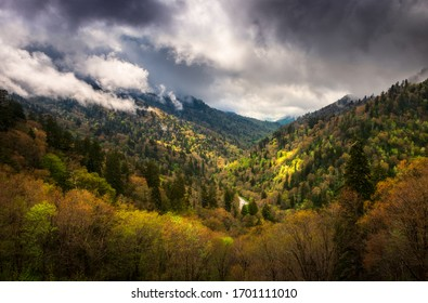 Dramatic sky over spring colors in the valley as thunderstorms pass by in the Great Smoky Mountains National Park in eastern Tennessee.  A scenic landscape from Mortons Overlook which is a popular tou