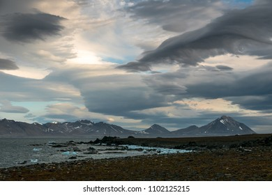 Dramatic sky over the Wilczekodden Cape, Spitsbergen