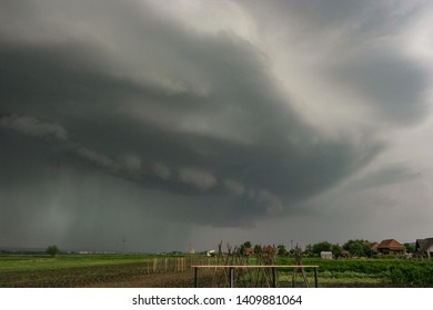 Dramatic sky as a severe thunderstorm with shelf cloud approaches in eastern Europe