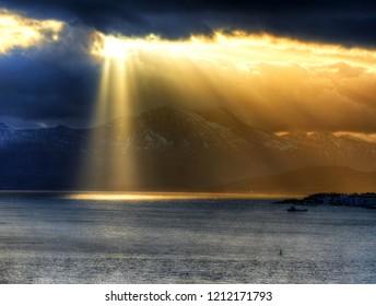 Dramatic sky and sunrays