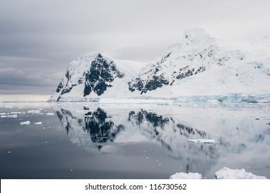 Dramatic snow hill in Antarctica