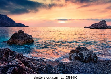 Dramatic spring view of Petani Beach. Spectacular sunset scene of Cephalonia Island, Greece, Europe. Unbelievable seascape of Mediterranen Sea. Mystical outdoor scene of Ionian Islands.