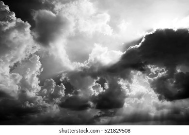 The dramatic storm Cloud and the evening sky in Black and White monochrome Cloudscape.
