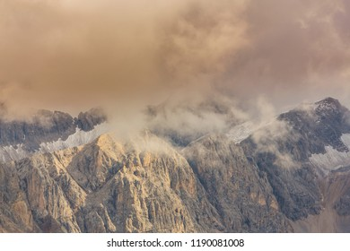 Dramatic storm clouds in the Dolomite Alps in autumn