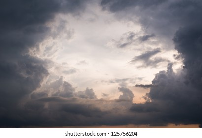 Dramatic storm clouds with eye in a sky