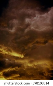 Dramatic stormy black sky clouds before rain, filtered natural background.