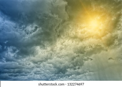 A dramatic stormy cloudscape background texture portraying approaching bad weather.