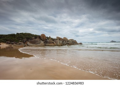 Dramatic and stormy day at Whisky bay beach in Wilsons Promontory national park, Victoria, Australia