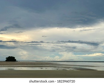 Dramatic stromy cloudy sky over the sea at Nai Yang beach in Phuket island, Thailand. - Shutterstock ID 1823960720