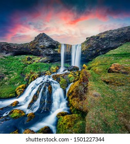 Dramatic summer sunrise on Sheep's Waterfall. Splendid morning scene of Iceland, Europe. Beauty of nature concept background.