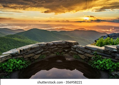 A dramatic summer sunset from Craggy Gardens along the Blue Ridge Parkway in North Carolina