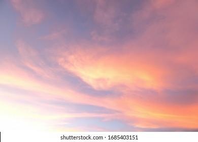 dramatic summer sunset sky at Thailand.