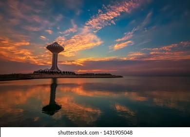Dramatic sunrise clouds view in Alkhobar sea side Saudi Arabia. City : Khobar, Country : Saudi Arabia. Photo was taken Month of November 2nd year 2018.